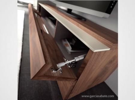 Comedor moderno NATURAL. Composición D. Detalle mueble televisión