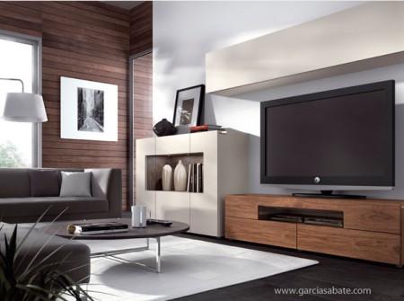 Mueble comedor moderno compuesto de mueble televisión, aparador y mueble alto colgado