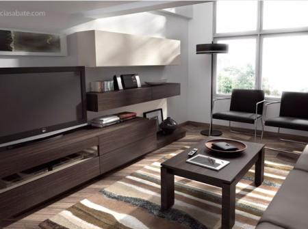 """Mueble salón de diseño acabado en madera natural de roble """"fumé"""" y laca arena mate."""