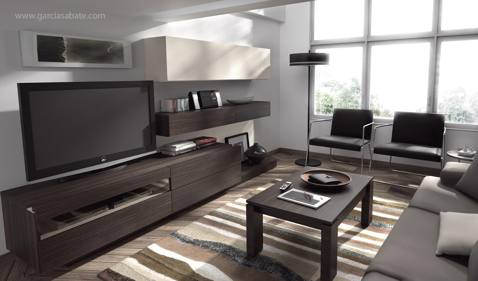 "Mueble salón de diseño acabado en madera natural de roble ""fumé"