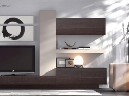 """Mueble bajo de la composición """"H"""". Destacan los tiradores integrados en los frentes, un detalle decorativo bicolor que aporta personalidad al ambiente."""