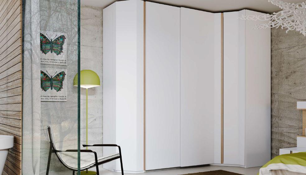 ONE YM519 | Armario vestidor en acabado Blanco Mate y Roble Natural